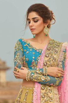 Pale Yellow Wedding Lehenga with Firozi top – Panache Haute Couture Indian Wedding Outfits, Pakistani Outfits, Indian Outfits, Lehenga Skirt, Lehenga Blouse, Lehenga Choli, Sari, Pakistani Bridal, Indian Bridal