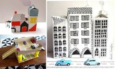 milk carton buildings, cardboard garage