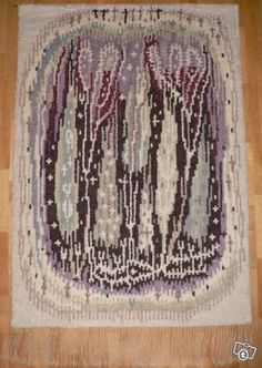 Kaukametsä-ryijy Rya Rug, Wool Rug, Art Textile, Open Weave, Fabric Textures, Home Art, Loom, Weaving, Art Deco