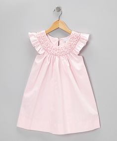 Look at this Pink Pearl Smocked Angel-Sleeve Dress - Infant