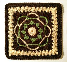 "Day 30: 6"" Block of the Day - Nosegay Square by Priscilla Hewitt Free Pattern: http://priscillascrochet.net/free%20patterns/Afghan%20Squares/Nosegay%20Square.pdf June 2013 #TheCrochetLounge #crochet #6""Square Pick #grannysquare"