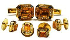 925 sterling Silver Natural Citrine & Sapphire Gemstone Cufflinks & Button Set #Unbranded