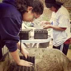 Volunteers sowing seeds in the Back to Natives nursery.