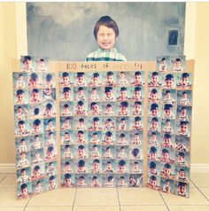 Mason's Day of School poster project - 100 Faces of Mason… 100 Day Project Ideas, 100 Day Of School Project, 100 Days Of School, School Projects, 100th Day Of School Crafts, School Gifts, 100 Day Celebration, Kindergarten Projects, School Posters