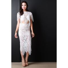High Waist Floral Crochet Lace Midi Skirt ($32) via Polyvore featuring skirts, mid calf skirts, flower print skirt, side slit skirt, floral print midi skirt and calf length skirts