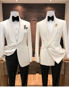 for Groom and Best man White Tuxedo Wedding, Groom Tuxedo Wedding, Black And White Tuxedo, Wedding Suits, Wedding Attire, Mens White Suit, White Suits, Best Suits For Men, Cool Suits