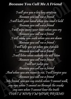 sad friend poems that make you cry | will give you a big hug anytime because you call me a friend i will ...