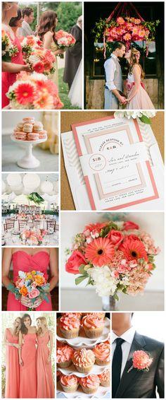 Wedding Inspiration in Coral - Modern Circle Logo Wedding Invitations