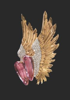 "Pink Topaz, Gold and Diamond 'Winged' Brooch, 1939 – Originally purchased by Joan Fontaine and worn in Alfred Hitchcock's film ""Suspicion"""