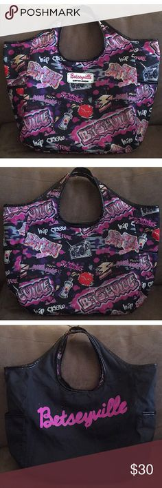 """⚡️Betsey Johnson 'Graffiti' Reversible Tote 💋 EUC!💥Equally wild & simple, Betseyville reversible tote is perfect for a fashionista on the go!  Features: Man-made materials, black patent faux leather trim, top hidden magnetic closure, dual shoulder handles w/ 8"""" drop, 2 exterior slip pockets, 2 interior slip pockets & D-ring. Side 1: Black w/ all-over graffiti print for fun & fresh style & front silver embossed nameplate.  Side 2: Black w/ large pink signature logo print & 💋design…"""