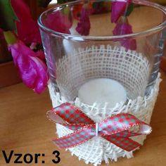 Svietnik sklenený s mašľou - Sviečka - S čajovou sviečkou (plus 0,10€), Vzor - Vzor 3