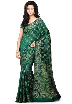 Buy Peacock Green Pure Tussar Silk Banarasi Saree with Blouse online, work: Woven, color: Peacock Green, usage: Wedding, category: Sarees, fabric: Silk, price: $333.80, item code: SNEA316, gender: women, brand: Utsav