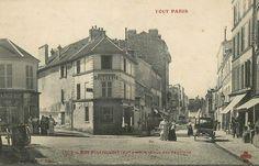 La placette formée au carrefour de la rue de Pixérécourt, de l'impasse des Chevaliers et de la rue des Pavillons (à l'extrème gauche), un chouette coin du 20ème arrondissement, du moins vers 1900...  (Paris 20ème)