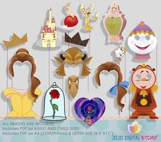 Beauty and the Beast Party Photo Booth Props von IraJoJoBowtique