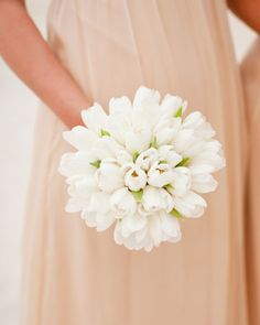 These bridesmaids carried bouquets of white Darwin tulips tied with white silk grosgrain ribbons.