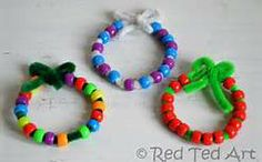Cute bracelet with beads and pipe cleaners.