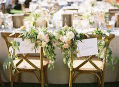 Bride and groom chairs: http://www.stylemepretty.com/2014/10/02/open-air-mission-wedding-with-soft-pastels/ | Photography: Jessica Burke - http://www.jessicaburke.com/