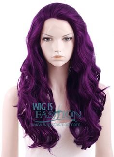 "24"" Long Curly Wavy Dark Purple Lace Front Synthetic Wig"