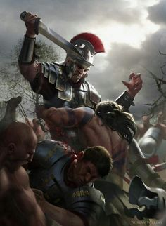 A scene of Romans battling Barbarian Tribes Greek Warrior, Fantasy Warrior, Military Art, Military History, Ancient Rome, Ancient History, Alter Krieger, Rome Antique, Roman Warriors