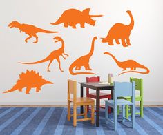 Boys Room Dinosaur Vinyl Wall Decal Set