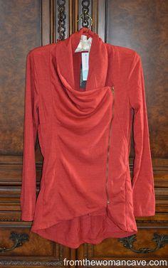 Just got this red/orange asymmetric cardigan in my Stitch Fix box this week! http://stitchfix.com/referral/3425033