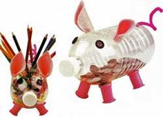 Piggy banks and curly-tailed pencil holders! Make use of those plastic bottles!