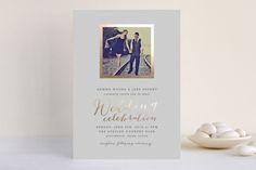 Modern Photo Frame Foil-Pressed Wedding Invitation...   Minted