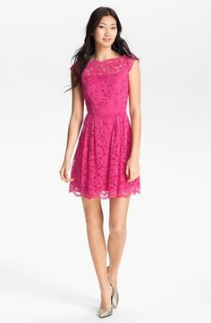 Bridesmaids! Definitely love this shape but not the color even though it is pink. Also how is that a fit and flare? The dress isn't even long enough to be a fit and flare! Cynthia Steffe Lace Fit & Flare Dress | Nordstrom