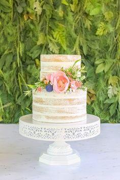 rustic naked cake semi-naked wedding cake Bolo Floral, Floral Cake, Bolo Neked Cake, Wedding Desserts, Wedding Cakes, Wildflower Cake, Cake Structure, Two Tier Cake, Wedding Renewal Vows