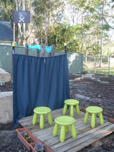 An outdoor stage/theater at Karana Early Education Centre ≈≈ http://www.pinterest.com/kinderooacademy/preschool-outdoor-play-environments/