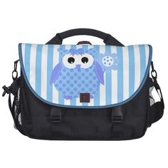 Owl Diaper Nappy Blue Stripe Commuter Bags