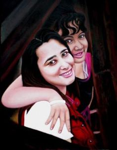 """""""Mom and Daughter"""" #Creative #Art in #painting @Touchtalent"""