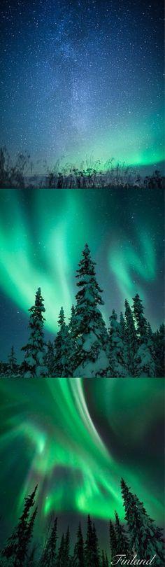 Finland . Northern lights amazing beautiful