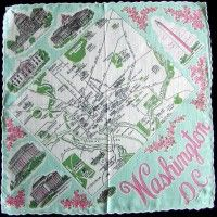 Washington DC Souvenir State Map Vintage Handkerchief