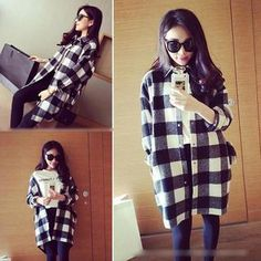 Buy QZ Lady Oversized Flannel Shirt at YesStyle.com! Quality products at remarkable prices. FREE WORLDWIDE SHIPPING on orders over US$ 35.