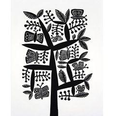 Butterflies - Linocut by Hilke MacIntyre