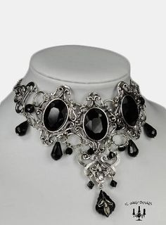 Barock rokoko Gothic Vampir victorian Halskette Collier schwarzer Stein Kette