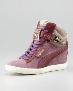 Joustesse Mid-Wedge Sneaker, Dark Gray by Alexander McQueen PUMA at Neiman Marcus.
