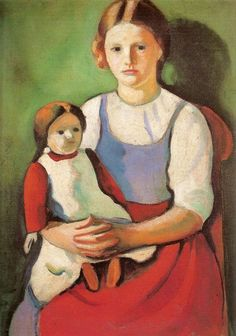 August Macke - Blond girl and doll.