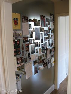 My Life Board ~ a giant magnetic wall I created to hold treasured photos and memorabilia. I love this spot. :)