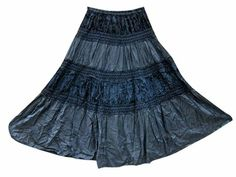 Amazon.com: Womens Skirt Black Rayon Velvet Patch Embroidered Gypsy Maxi Skirt: Clothing   #bohoskirt #gypsyskirt #hippieskirt #maxiskirt #longskirt #mogulinterior.com