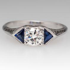 Diamond & Blue Sapphire Vintage Engagement Ring 20K White Gold