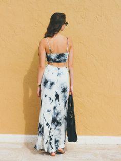 Spin Gallery Open Work Tie Dye Maxi Dress