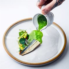 Coldsmoked mackerel, parsley, sour cream from Oviken, cucumber.