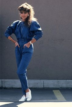 80s Denim One Piece...sorry, but I still love the 80;s fashions! well, maybe not the big hair!