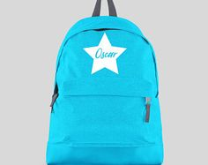 Personalised Backpack with ANY NAME Star- Kids Children Teenagers School Student rucksack - Back To School Bag Backpack -CBPS4