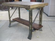 Vintage industrial work bench >>> Stripped, Aged and waxed MMD Original!!