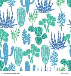 Succulents cacti plant vector seamless pattern. Botanical blue and green desert…