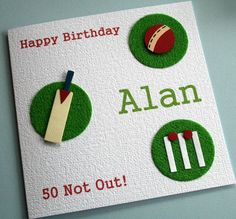 """Cricket card. """"60"""" not out. """"Owzat!"""" instead of happy Birthday, Dad, not Alan"""