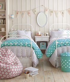 simple and sweet shared girls' bedroom